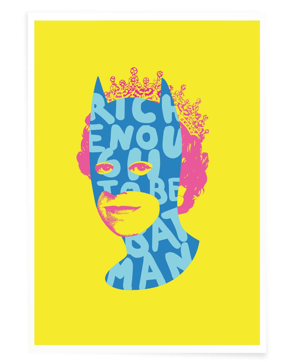 Rich Enough to be Batman - Blue, Pink and Yellow A5 size