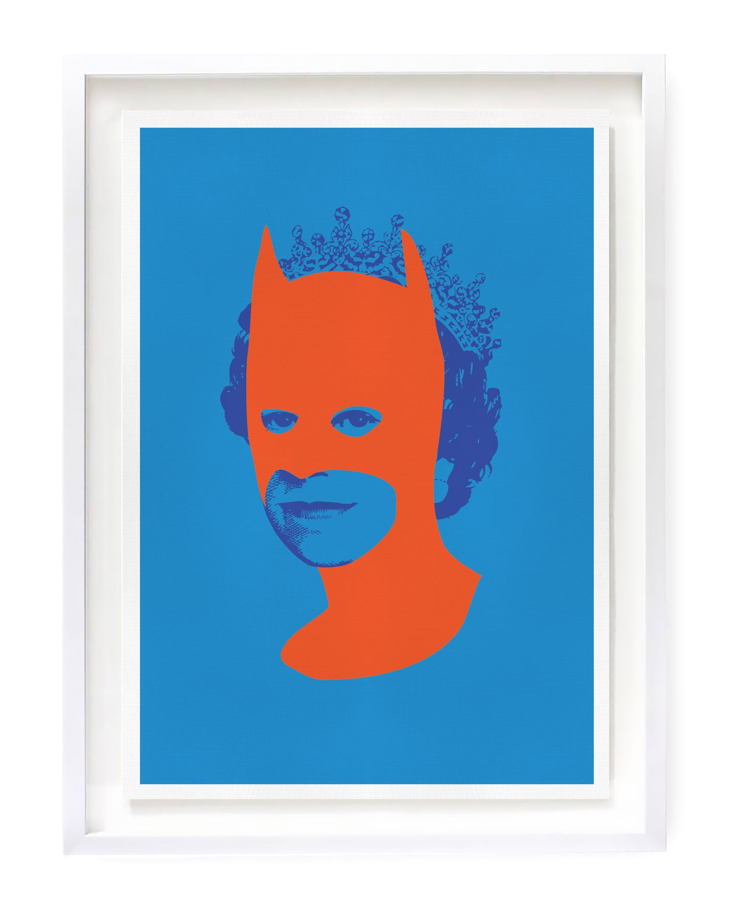 Blue Queen Elizabeth with Orange Batman Art Print