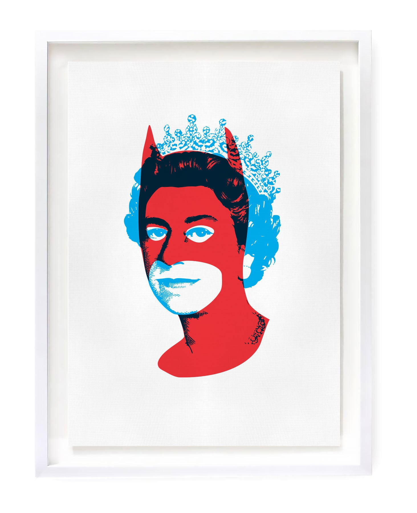 Red Batman with blue Queen Elizabeth limited edition art prints
