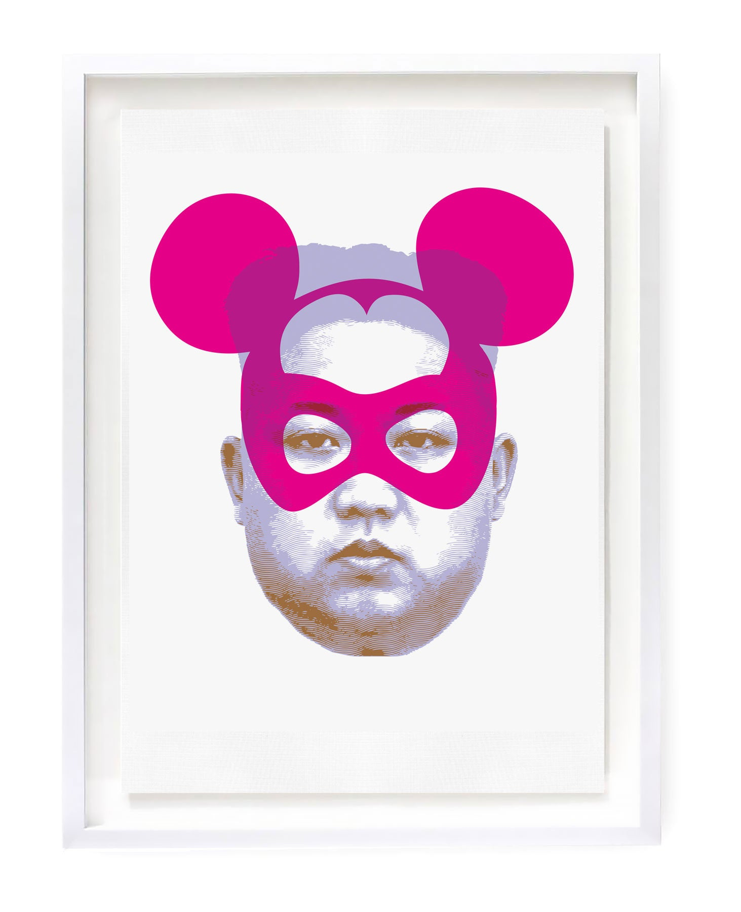 Limited edition silkscreen print featuring Jong-un with superimposed Mickey Mouse ear hat.