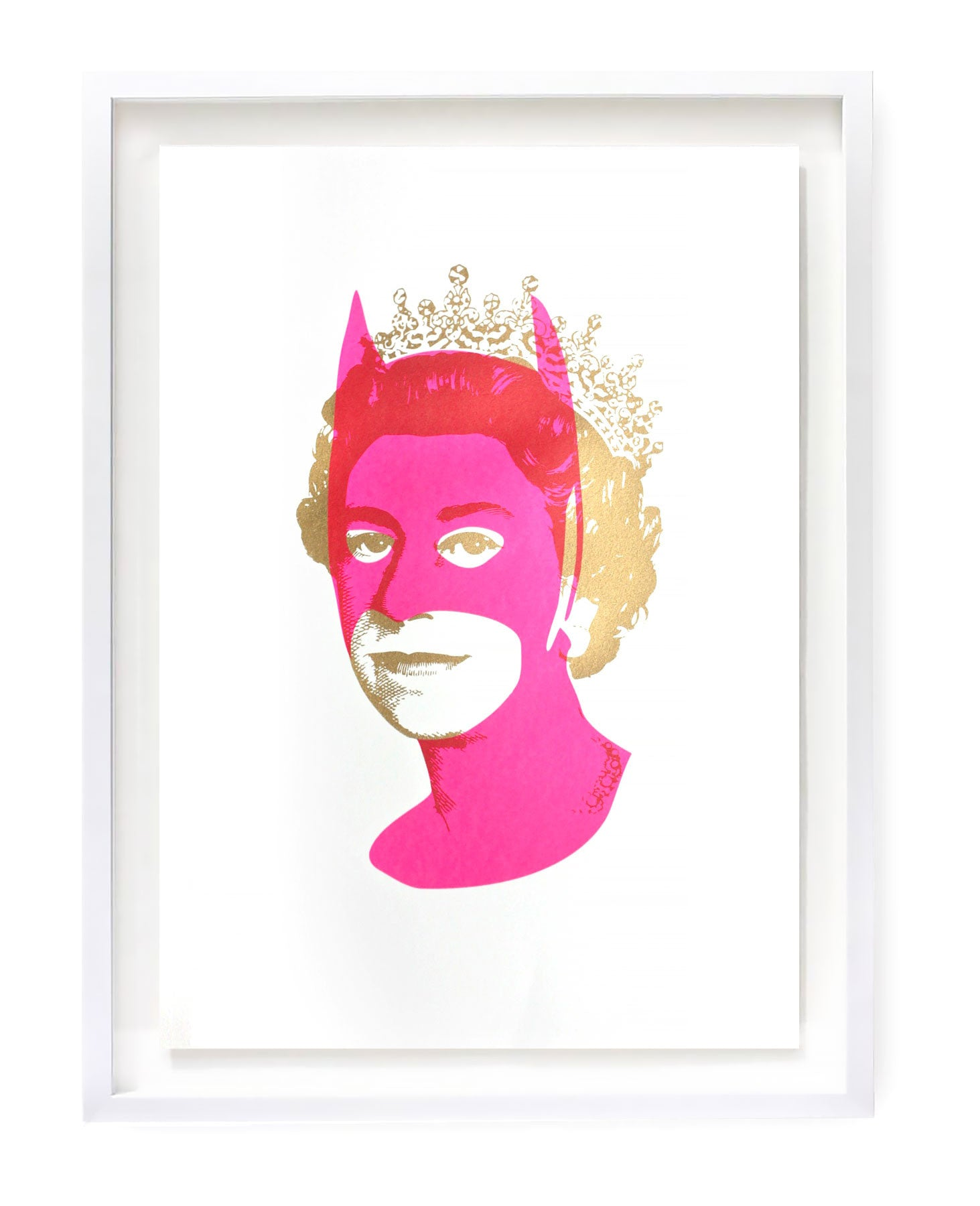 Pink Batman with gold Queen Elizabeth silkscreen print