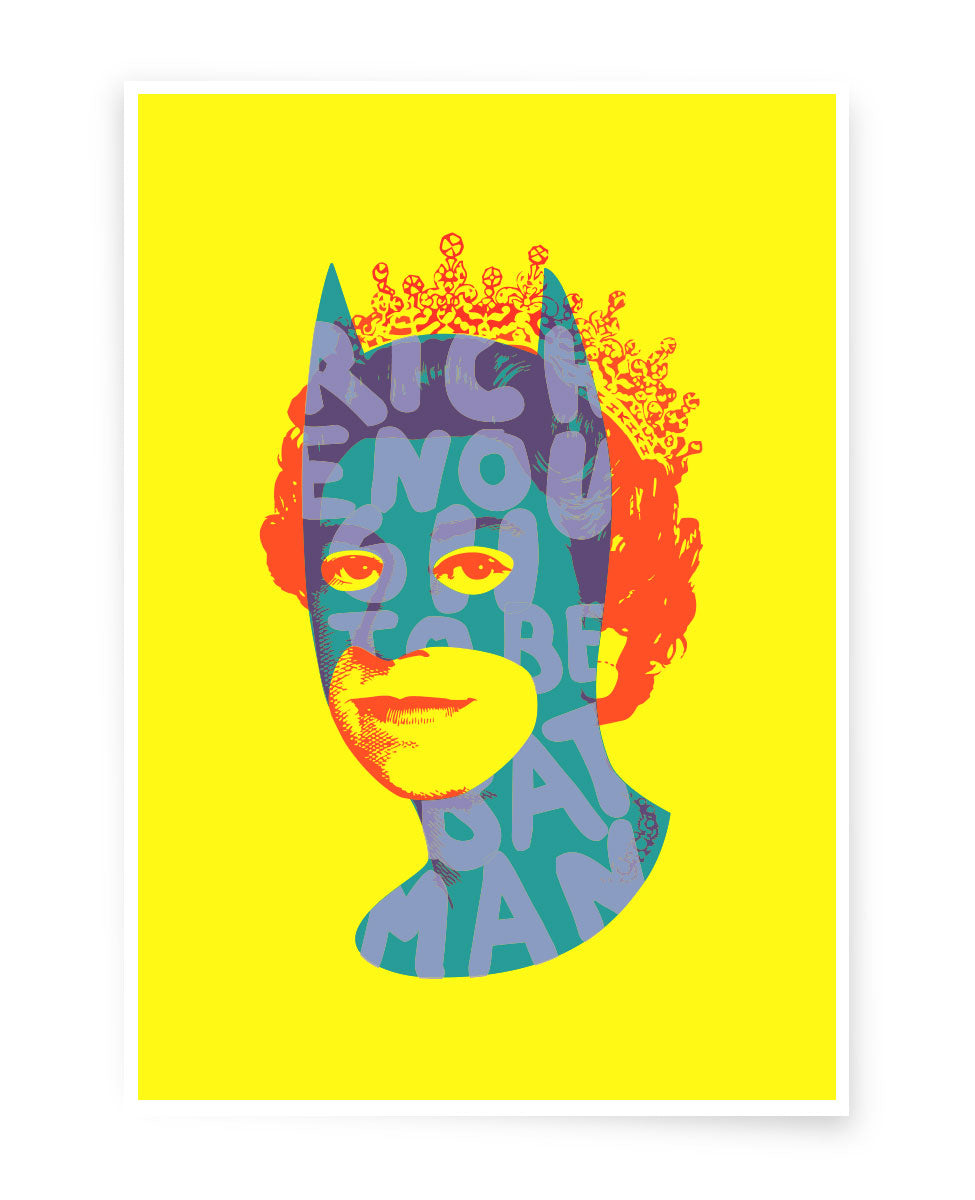Rich Enough to be Batman - All Neon A5 Postcard