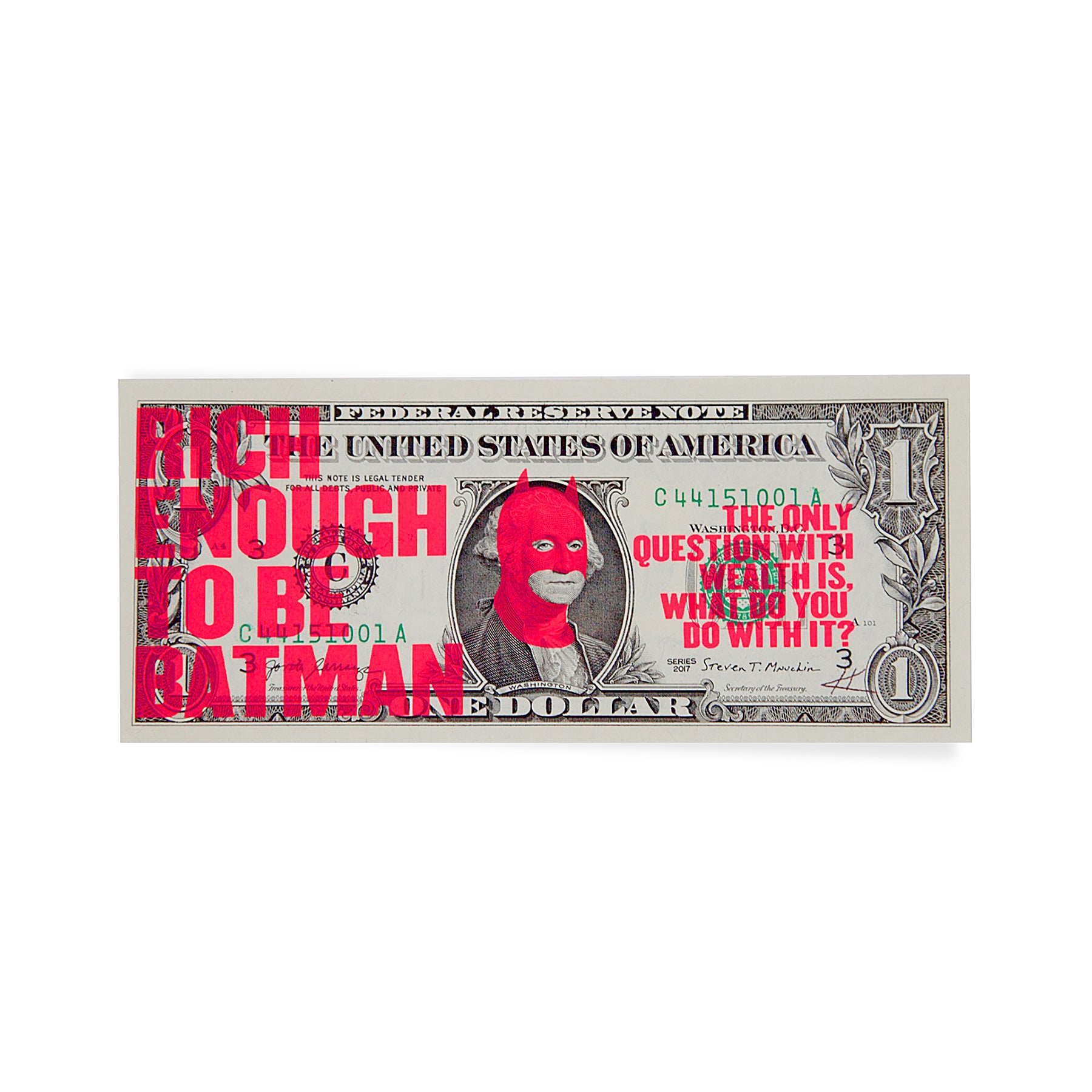Rich Enough to be Batman - US Dollar Note