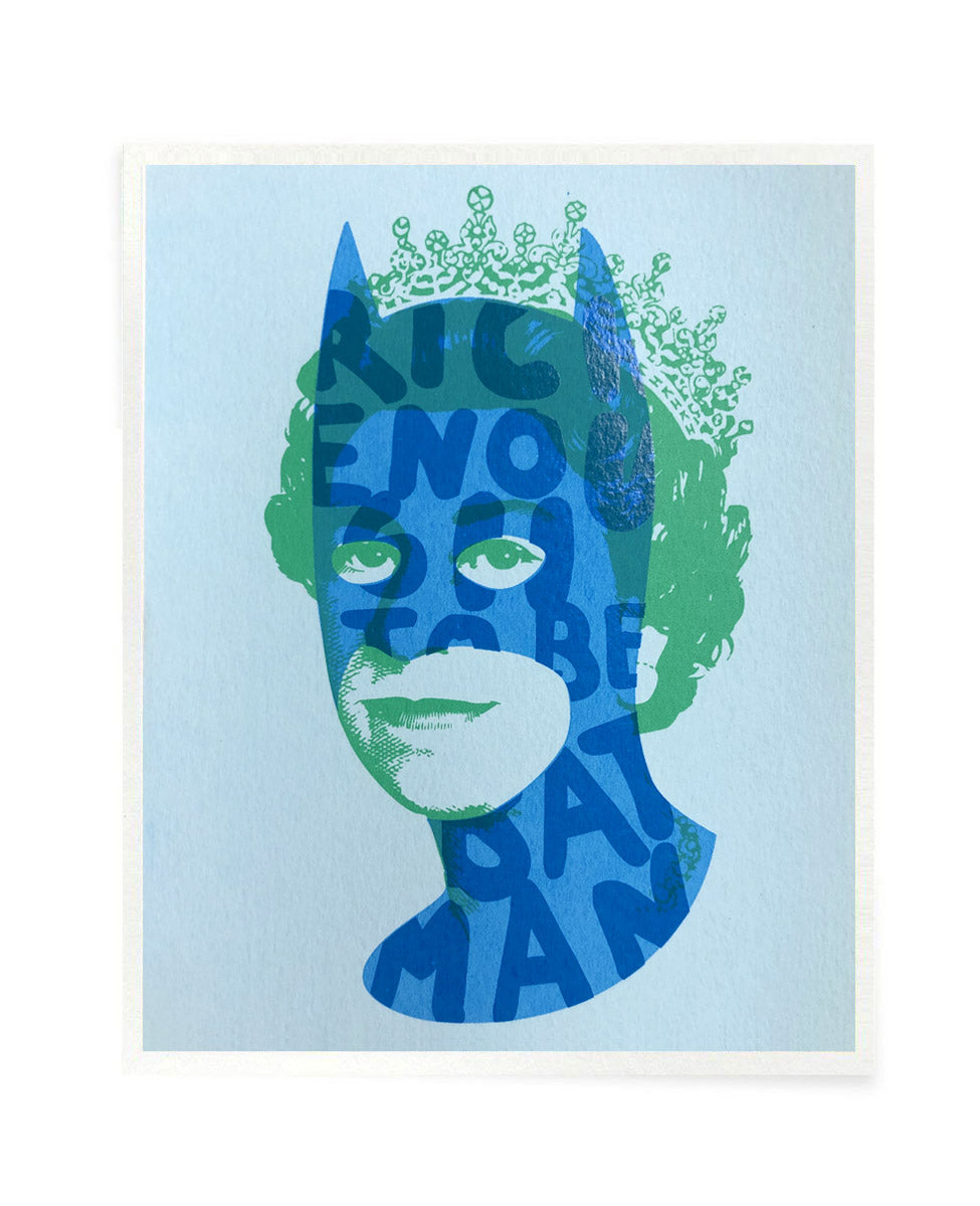 Rich Enough to be Batman - Blue and Green Postcard Size