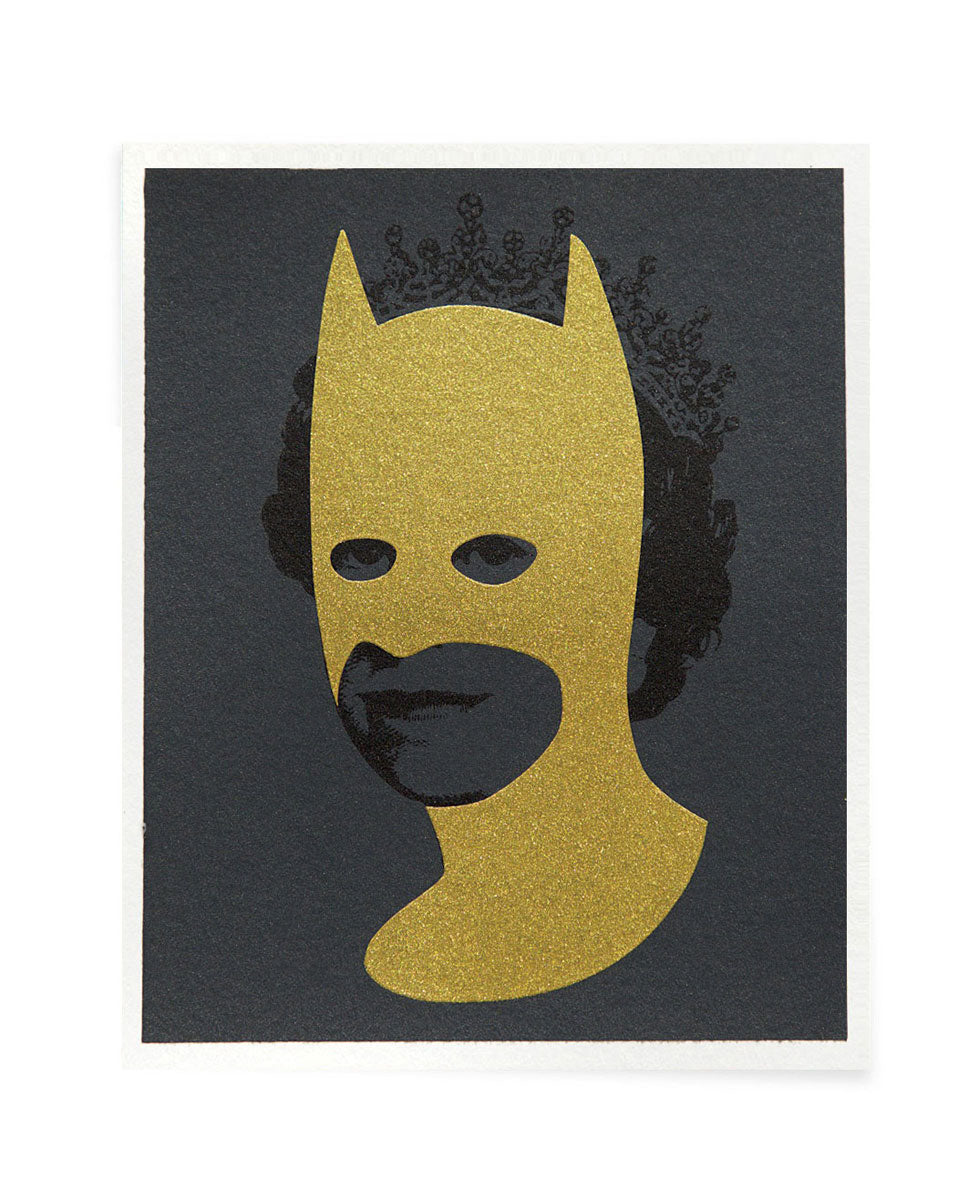 Rich Enough to be Batman Gold and Grey screen printed postcard by Heath Kane