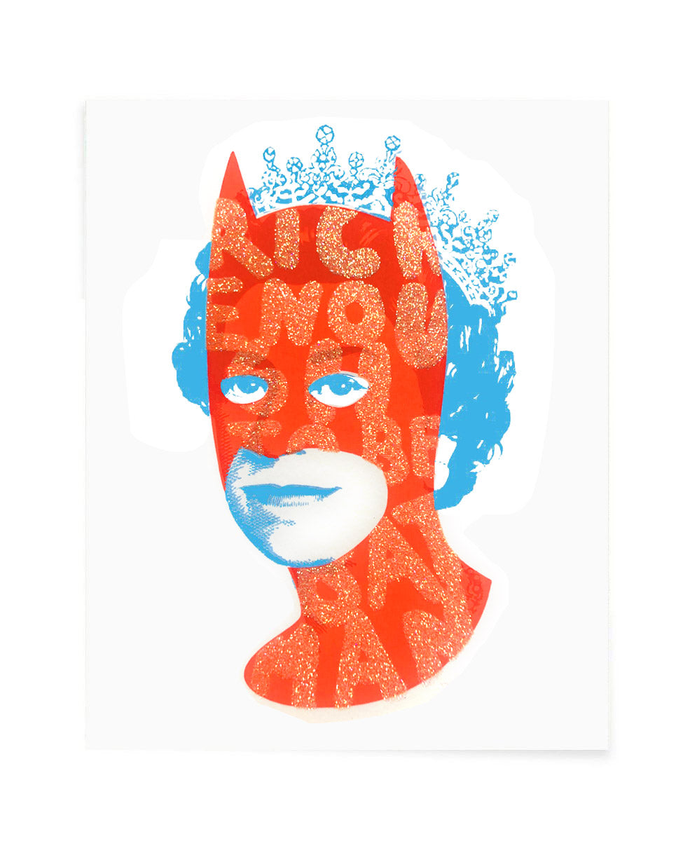 Rich Enough to be Batman - Neon Red and Glitter Postcard