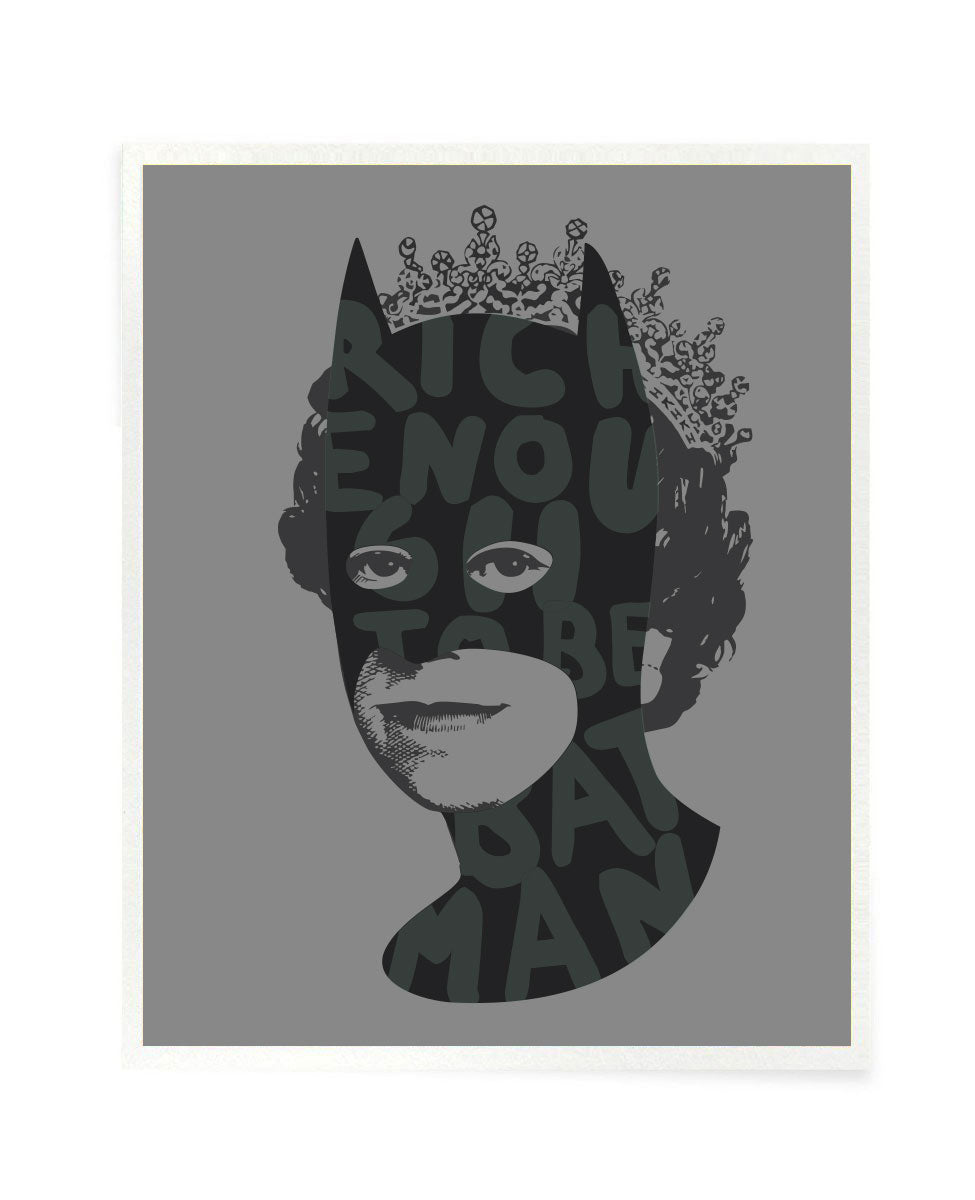Rich Enough to be Batman - Silver, Black and Phosphorescent Postcard Size