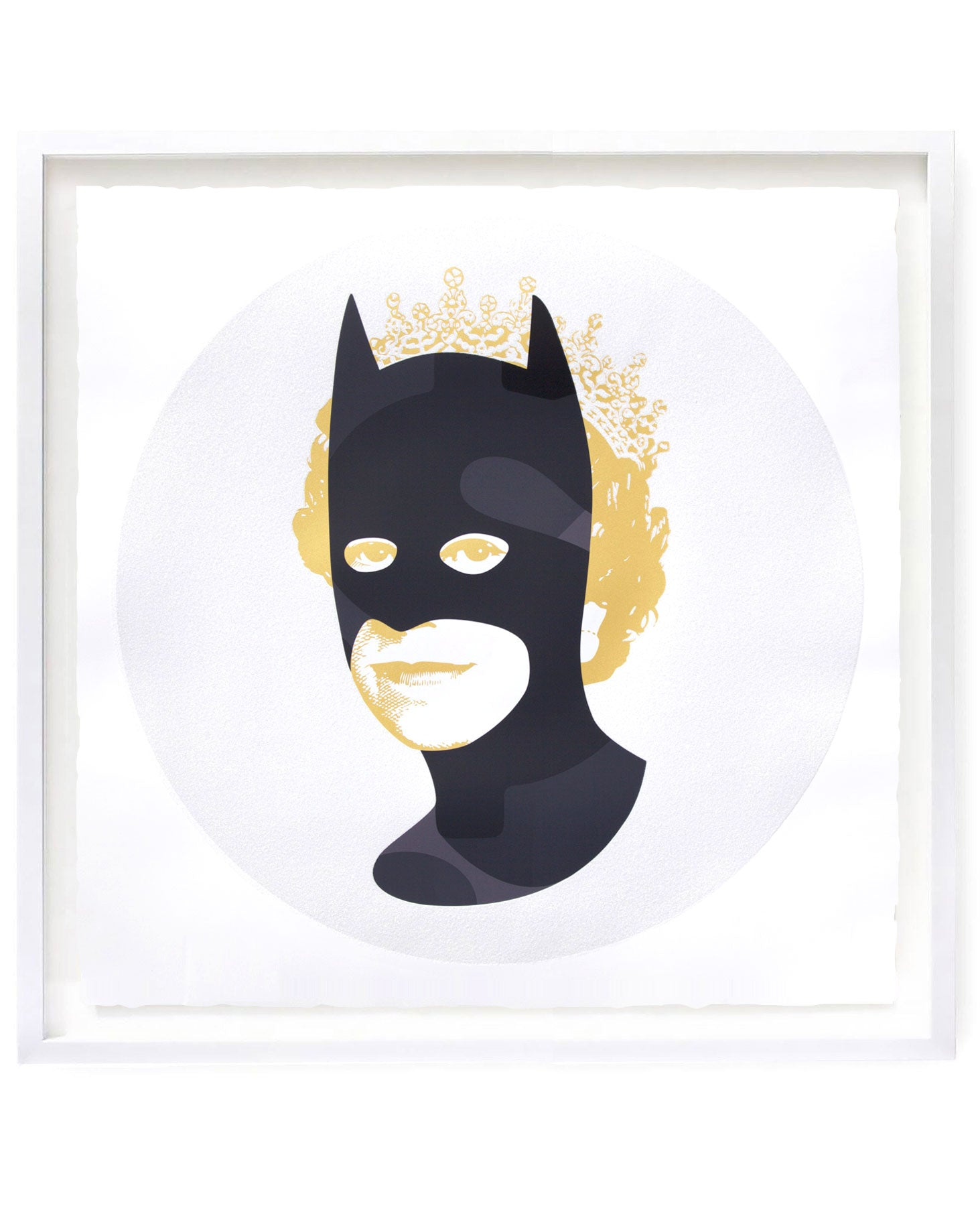 Rich Enough to be Batman by contemporary artist features camo print, gold and diamond dust glitter
