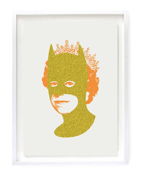 Rich Enough to be Batman - Gold Glitter and Neon Orange A3