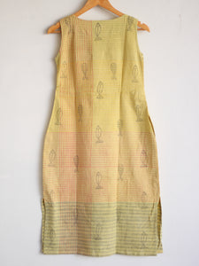 Lemon Khadi Shift Dress - CHHAPA