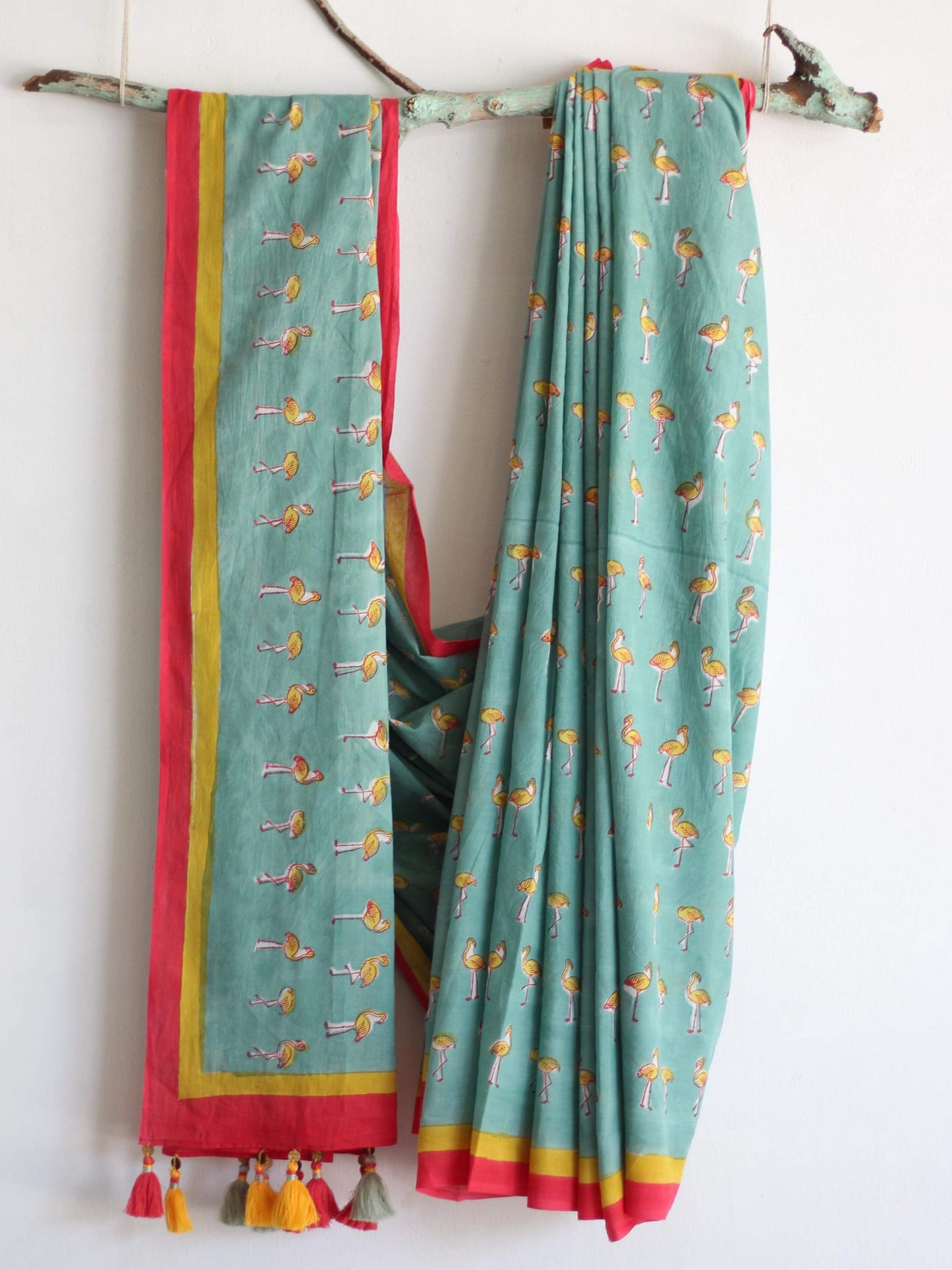SAREE - Mint Flamingo