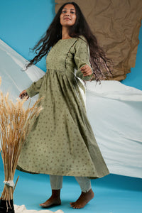 Pistachio Green Pleated Kurta