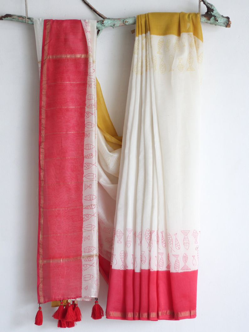 CHANDERI SAREE- Pujo with Red & Yellow - CHHAPA