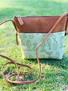 Leather Canvas Fish Sling Bag - CHHAPA