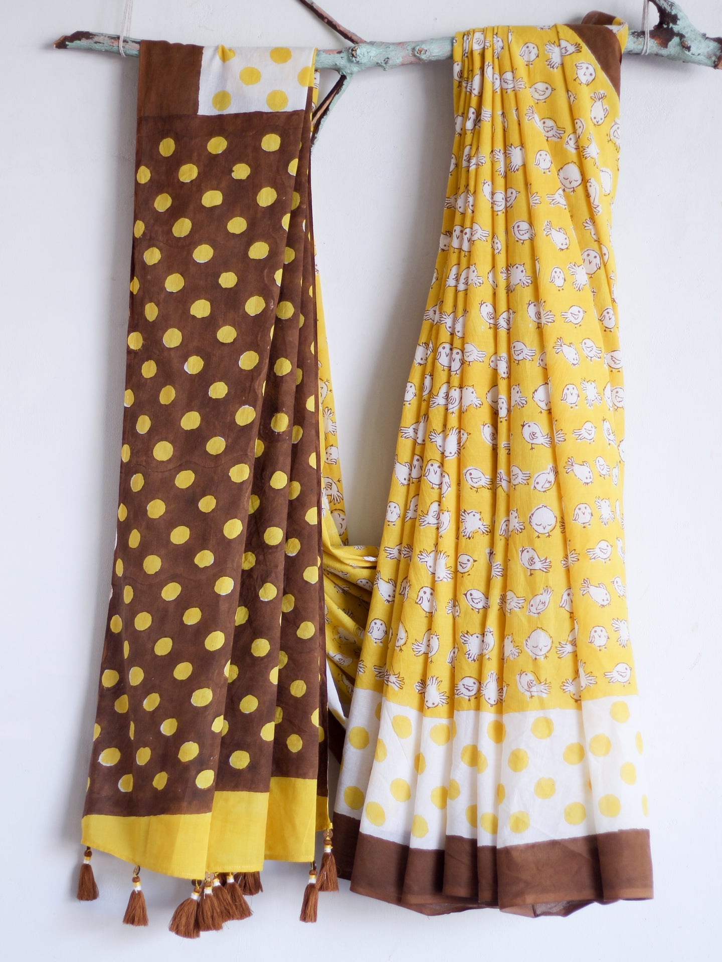 SAREE - Mustard & Brown Birdies