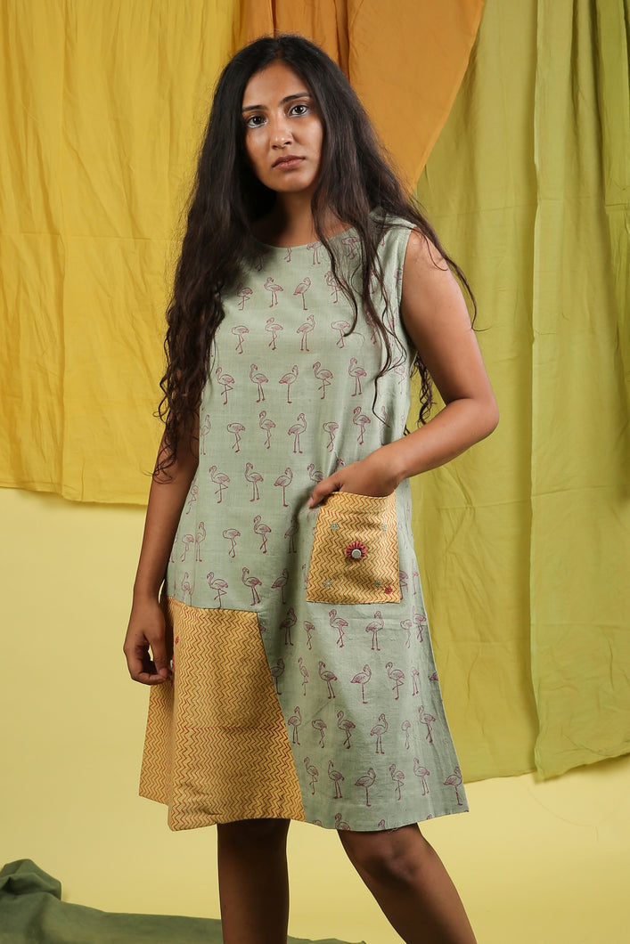 Khadi Flamingo Patch Pocket Dress