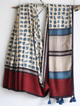 MODAL SILK SAREE - Elephants in Bagru Base