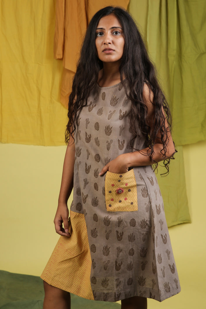Khadi Cactus Patch Pocket Dress