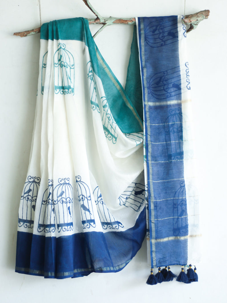 CHANDERI SAREE - Cage with Navy & Teal Blue - CHHAPA