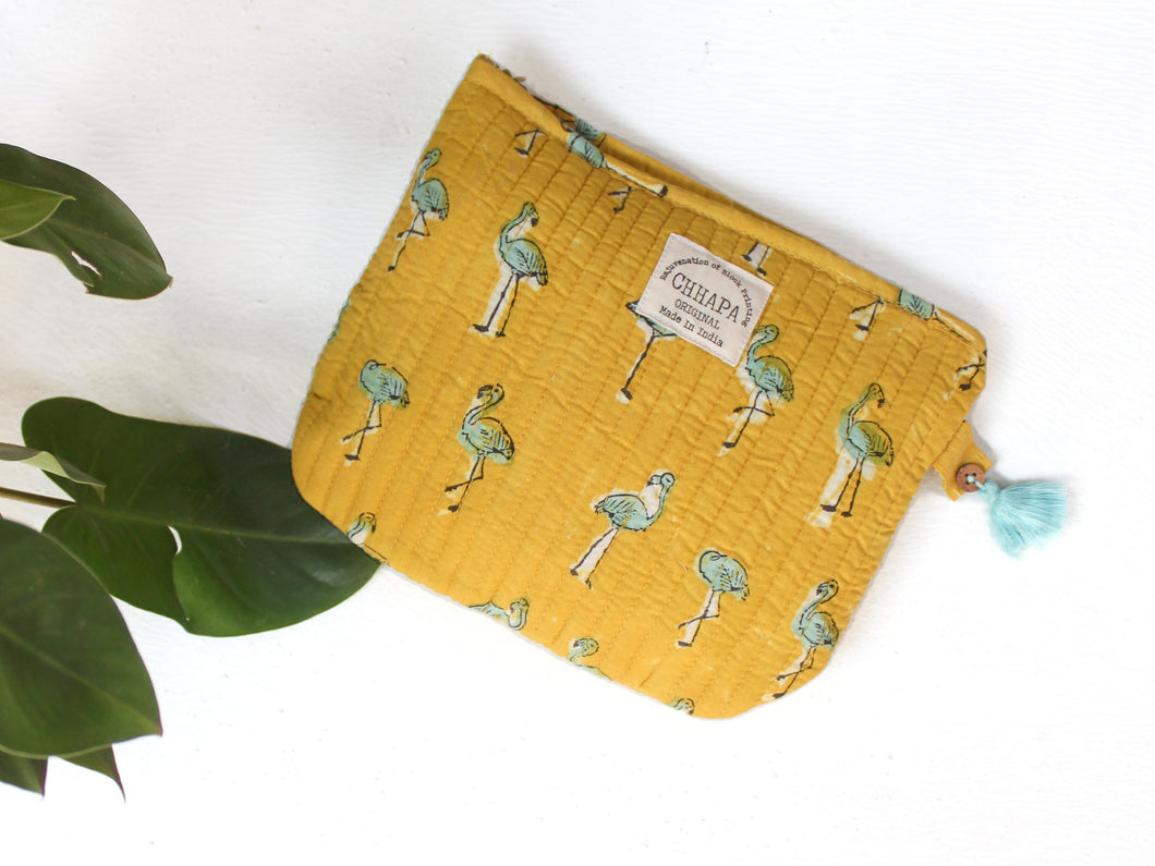 YELLOW FLAMINGO POUCH