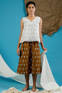 Mul Flamingo Top with Brown Skirt