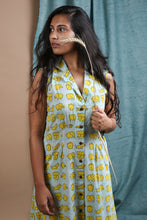 Notched Collar Elephant Button Dress