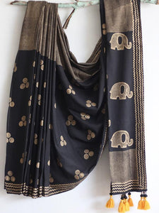 SAREE -Gold Foil Printed Black Saree