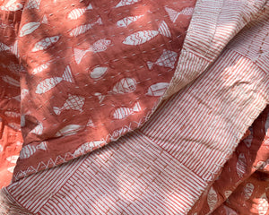 Kantha Quilt with Fish