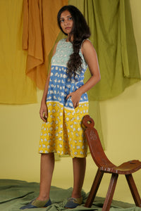 Tri Colored Khadi Dress