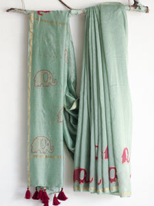 CHANDERI SAREE - Foil Printed Elephant Saree - CHHAPA