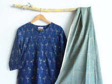 Navy Blue Flamingo Foil Printed Kurta Set