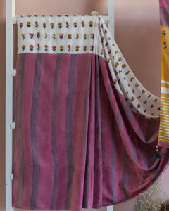 MODAL SILK SAREE - Blossom in Purple & Pink