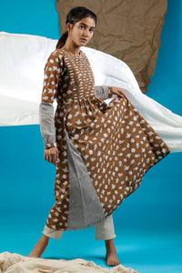 Brown Pleated Kurta