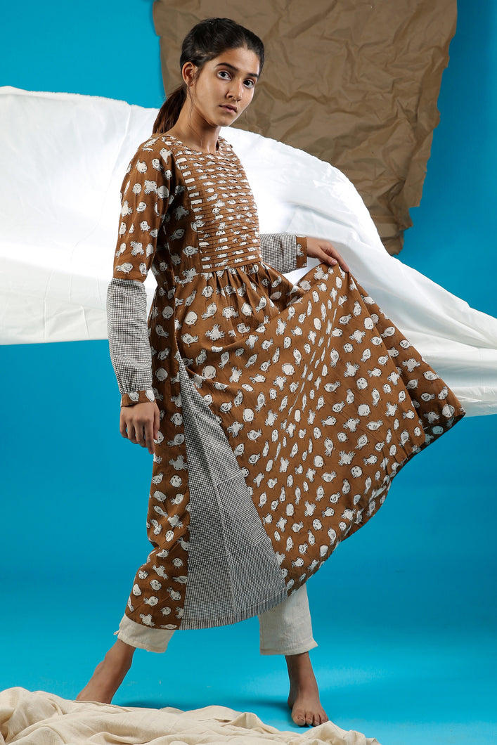 Brown Pleated Kurta - CHHAPA