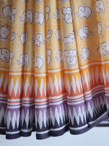 SAREE - Mustard Elephants