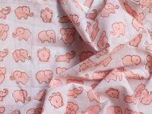 Fabric - Elephants in Peach Pink