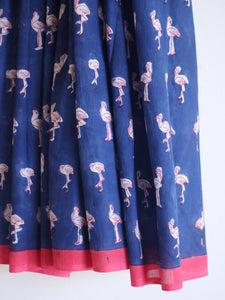 SAREE - Navy Blue with Flamingos