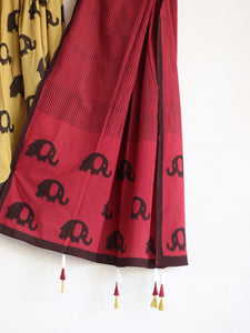 ChaniyaCholi- KHAKHI WITH MAROON ELEPHANT