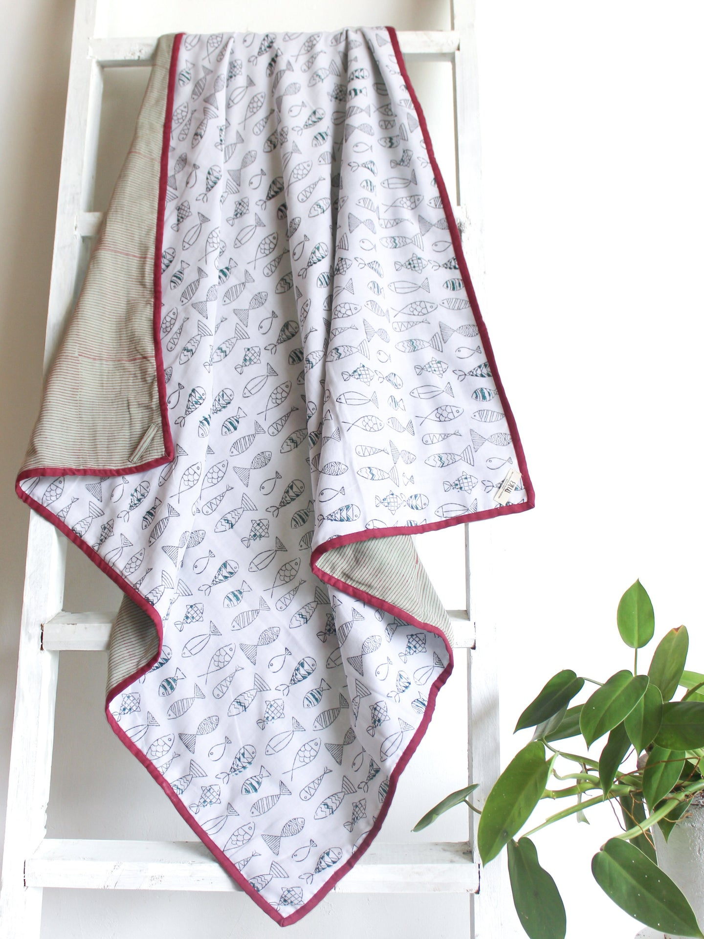 Kids Muslin Blanket with Fish