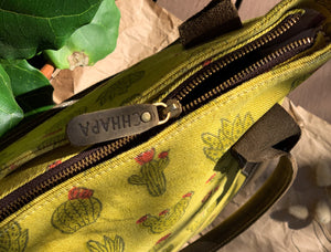 Canvas Leather Cactus Tote Bag
