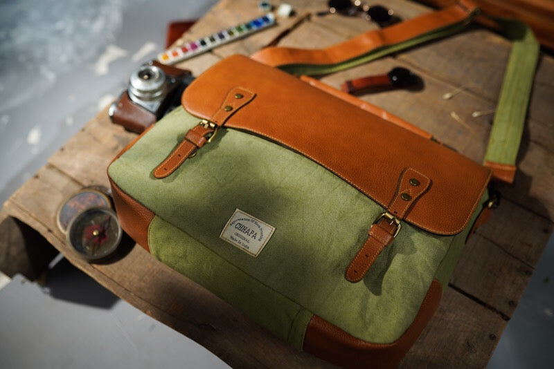 Canvas Leather Scooter Laptop Bag