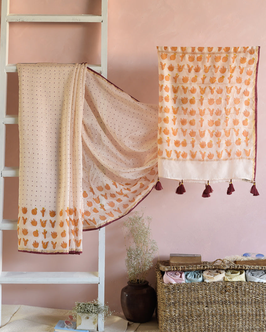CHANDERI SAREE - Cactus Peach Saree