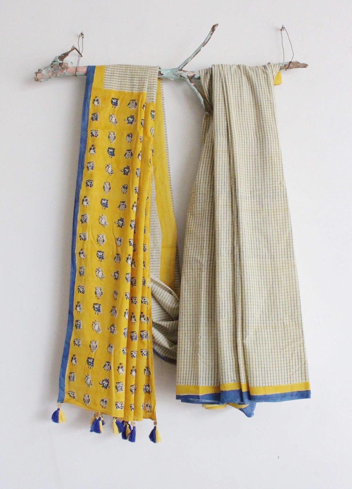 SAREE - Chex with Owl print