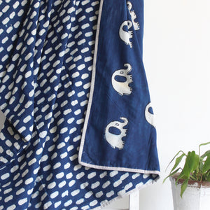Single Bed Quilt with Indigo Elephants