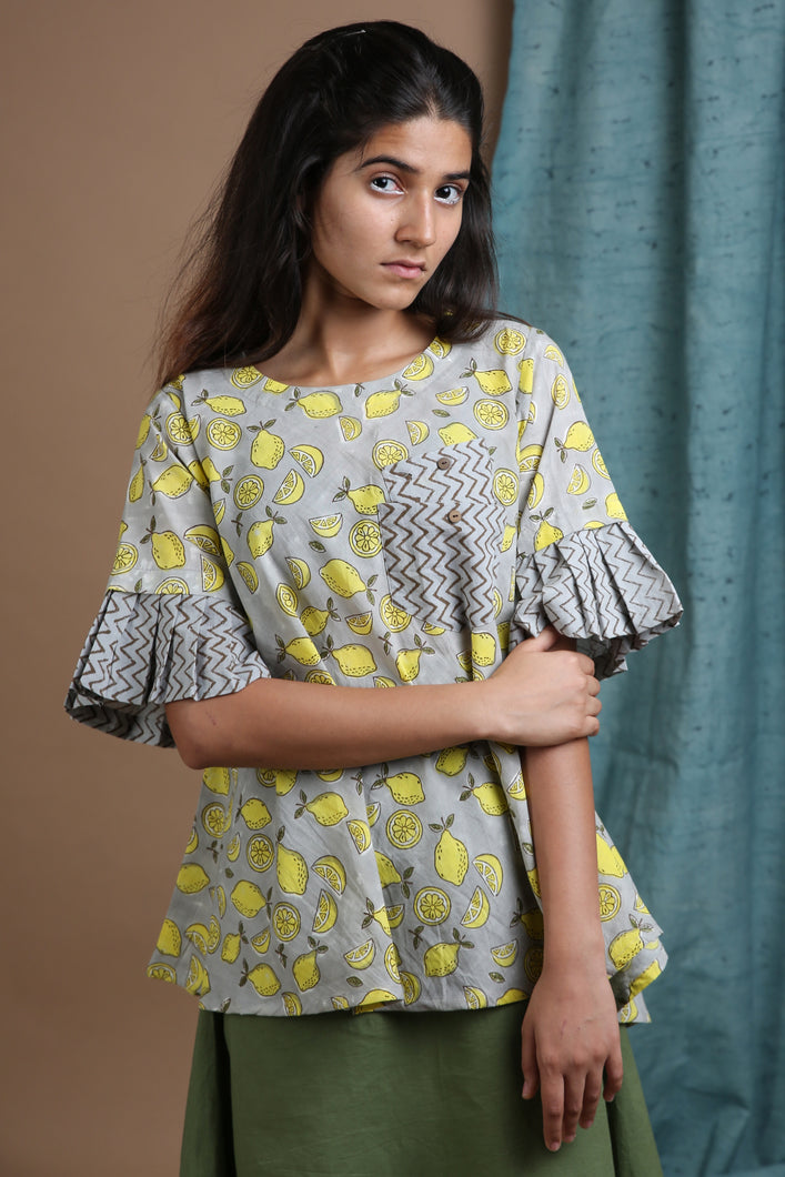 Lemon Pleated Sleeve Top