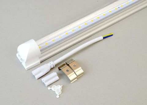10W 60CM T8 2Foot 220V LED Tube with Fitting Clear White 2 Pack