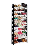 10 Tier Stackable Black Frame Shoe Rack