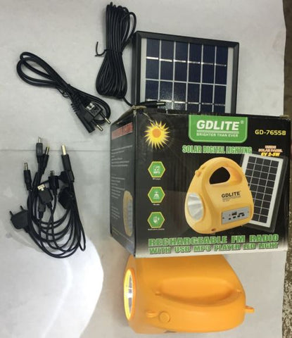GET YOUR GDLITE SOLAR LIGHTING KIT WITH RECHARGABLE FM RADIO AND LOTS MORE FEATURES!ON SPECIAL!