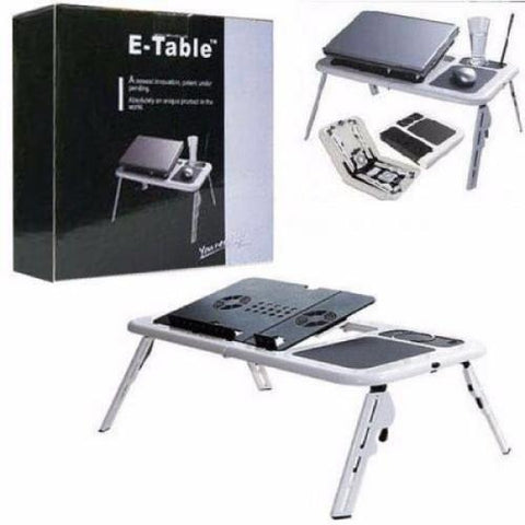 E-Table Portable Laptop Stand with 2 USB Cooling Fans - White