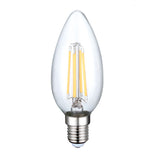 4W LED Clear Filament Candle Light Bulb 85% Energy Warm White- 5 Pack